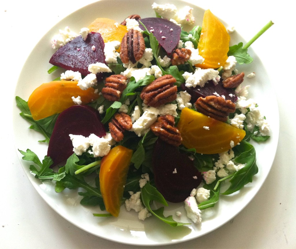 Recipe: Baby Arugula Salad with Beets, Goat Cheese and Candied Pecans ...