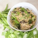 Image for Recipe: Sesame Bok Choi and Snow Peas with Rice Noodles