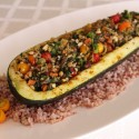 Image for Recipe: Stuffed Zucchini with Middle Eastern Vegetables, Preserved Lemon and Rice