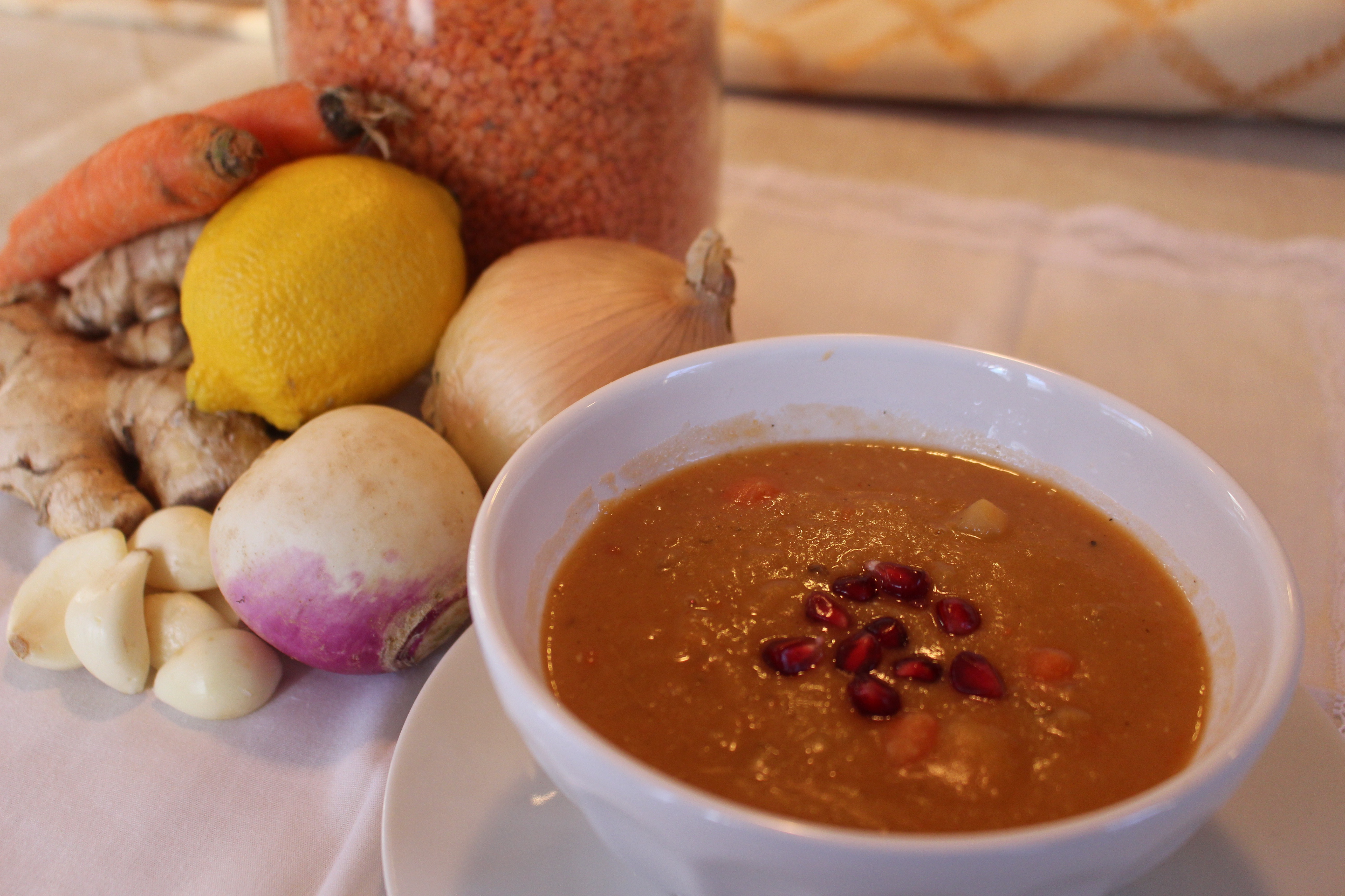Red Lentil Soup with Pomegranate | iEatGreen