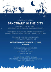 December 12th: Sanctuary in the City – A Vegan Cocktail Party Benefiting  Woodstock Farm Sanctuary